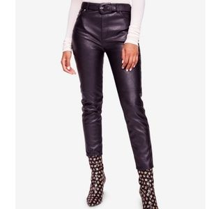 Free People Belted Faux Leather Pants